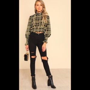 Tops - Ruffle & Puched Plaid Top